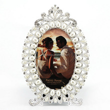 pearls metal picture frames rhinestone photo frame for wedding enamel jeweled photo frame