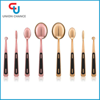 4 PCS Private Label Professional Toothbrush Shape Gold and Pink Cosmetic Oval Makeup Brush Set