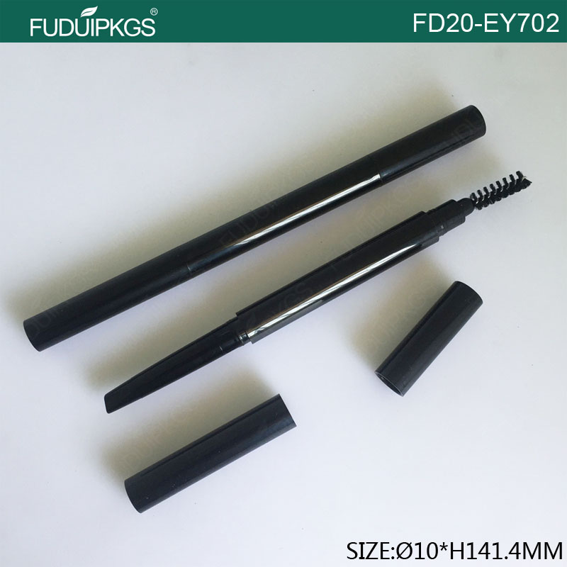 Double Heads Black Empty Plastic Eyebrow Pencil Packaging