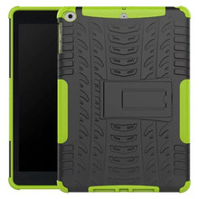 Tire style plastic tpu 2 in 1 shockproof corners case cover with holder universal for ipad air / air 2 for new ipad 2017 case