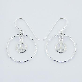 925 Silver Peace Symbol In Twisted Hoop Danglers