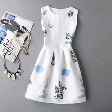 Chinese women printed flower dress sleeveless knee length summer dress with printed dress pattern