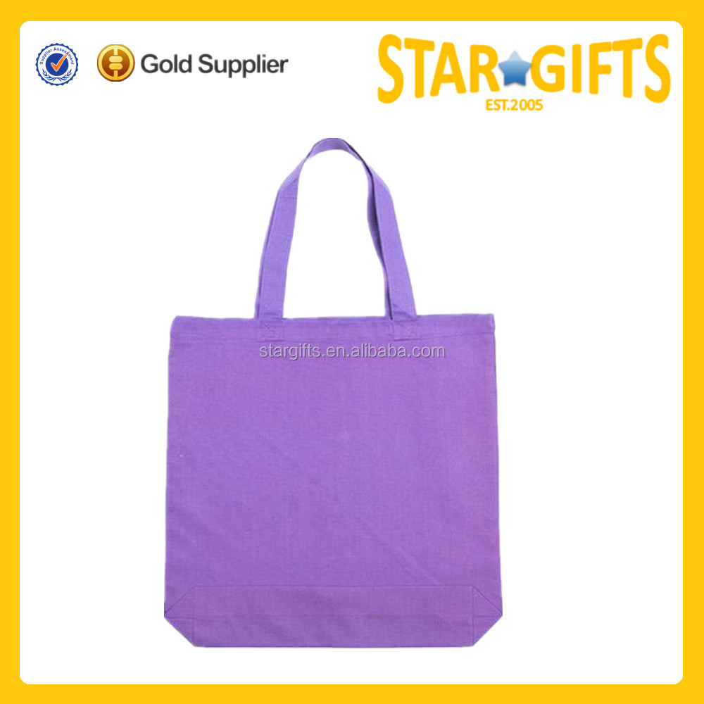 2017 New product cotton purple folding shopping bag