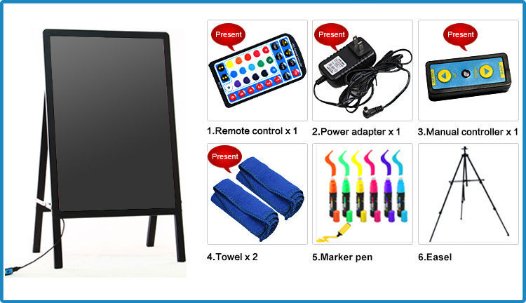 Hot Sales LED AD Menu Board 90 Flashing Modes LED Dash Menu Board Aluminum Alloy Frame Dash Menu Board