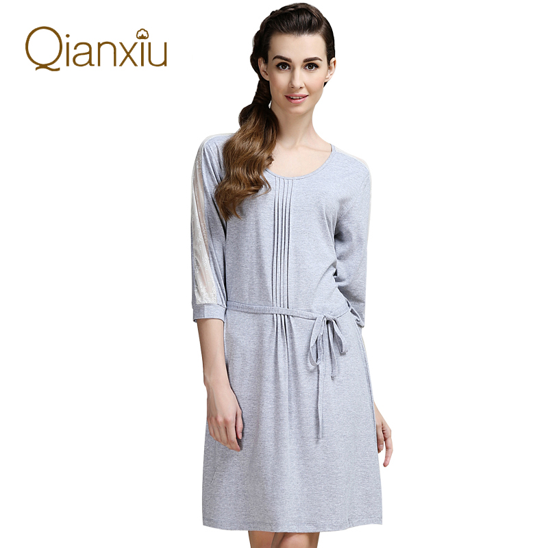 Qianxiu Low MOQ Nightgown Lace Sexy Lounge Wear