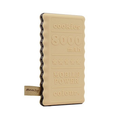 Reacher Logo Power Bank with 8000mAh high Capacity, Super Slim Cookie Design, LED Indicators to Show Power