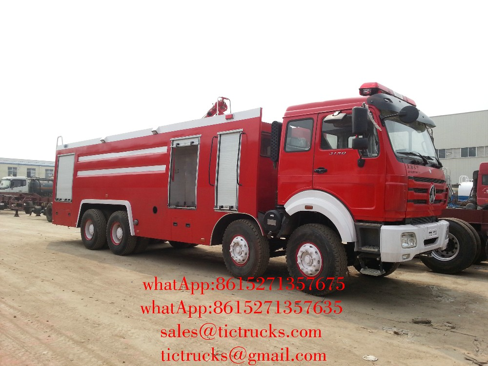 To TEMA 31 ton Beiben 3138 8x4 water foam fire truck