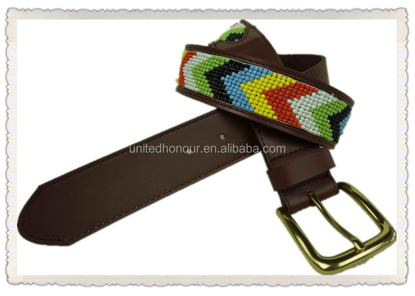 2015 High quality handmade Beaded leather belt