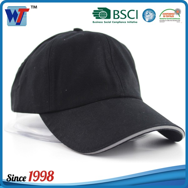 Lovely 6 panel cotton kids baseball cap 100% cheap nylon black blank hat