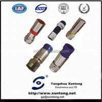f waterproof catv brass compression conectores crg59 rg6 cable coaxial