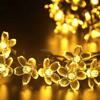 2016 HOT Peach Lotus floral flower starry lights 5m 50leds solar powered christmas decoration led string lights