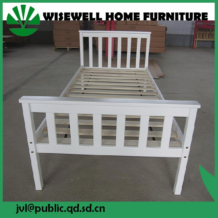 white chunky traditional wooden single bed furniture sets W-B-0096