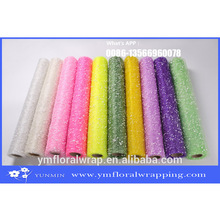 festival Decoration Polyester Snow mesh roll for flower wrapping paper and quality Christmas wrapping paper