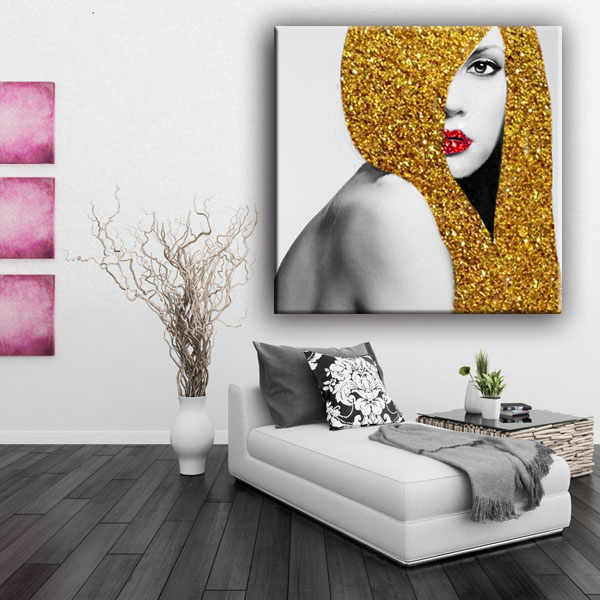 New golden hair woman wall glitter painting designs beautiful girl picture art