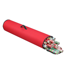 Red Round Christmas Gift Wrap Storage Organizer Bag With Handle Wrapping Paper Tube Bag