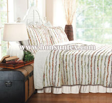 Factory brand new colorful designed cotton/polyester ruffle quilt set