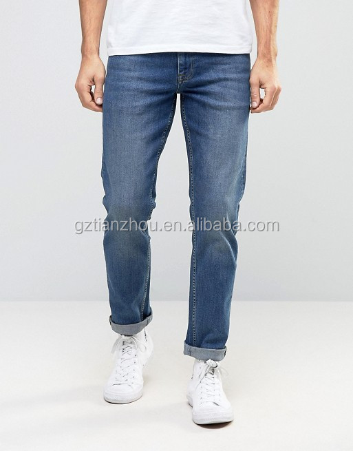 Hot Sale Good Quality Stretch Slim Jeans Men's Fashion Casual Jeans In Mid Blue Wash