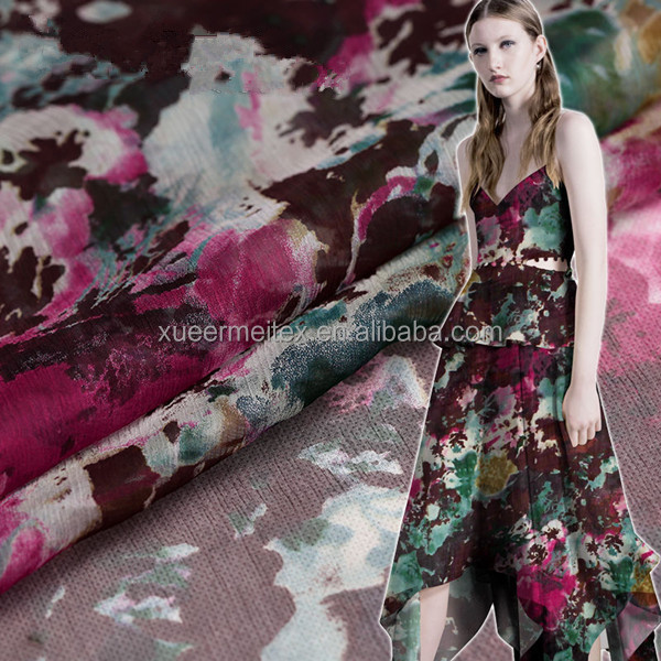 Wholesale dress / curtain / cover etc chiffon fabric high quality printed silk fabric for woman appeal