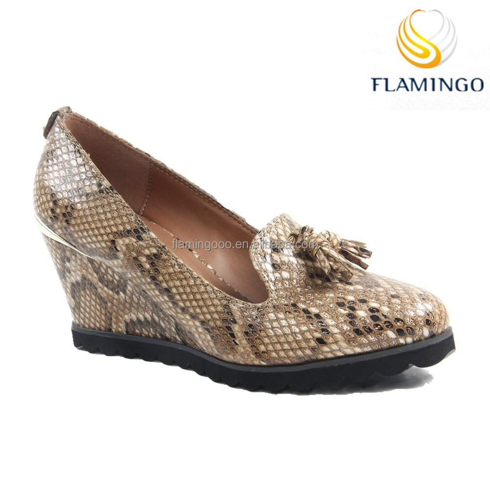 FLAMINGO 2015 LATEST GuangDong ODM OEM classic comfortable snake fashion shoes office ladies pump wedge shoes