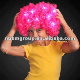 Hot Pink Football Fan LED Wig