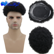 Best Selling Factory Price Virgin Human Hair Afro curl toupees for black men toupee 1# color in stock