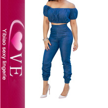 Yibiao Off Shouldr Stylish Blue Denim Crop Top and Jeans Jumpsuit
