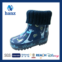kids cute cheap fashion baby fleece lined rubber boot