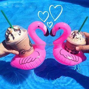 Mini Cute Red Flamingo Floating Inflatable Drink Can Holder Pool Bath Toys Party