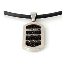 Stainless Steel metal Pendant with Adjustable Black Rubber Necklace