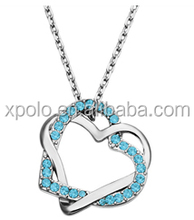 Wholesale fashional locked heart by heart pendant with crystal necklace