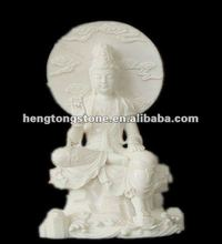 Hand Carved Natural White Marble Guanyin Buddha Statue
