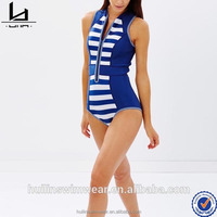 Oem service supply type slim fit zip front swimwear one piece with girl sexy image