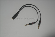 Black 3.5mm Female to 2 Male Headphone Mic Audio Y Splitter Cable PC Laptop BEST