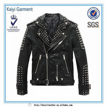 Motorcycle metal spikes leather jacket for men clothing