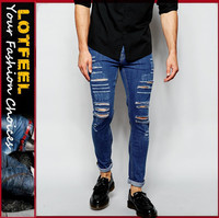 japanese jeans brands Super Skinny Fit Distressed denim man jeans pant with Rip Knee (LOTA010)