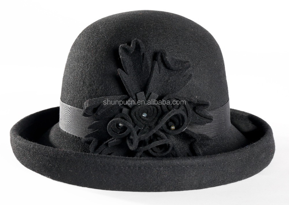 High quality cloche wool felt hat with flower