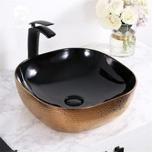 XDL-D1301H024 Nice price above counter mounting rose gold electroplate black new model wash basin