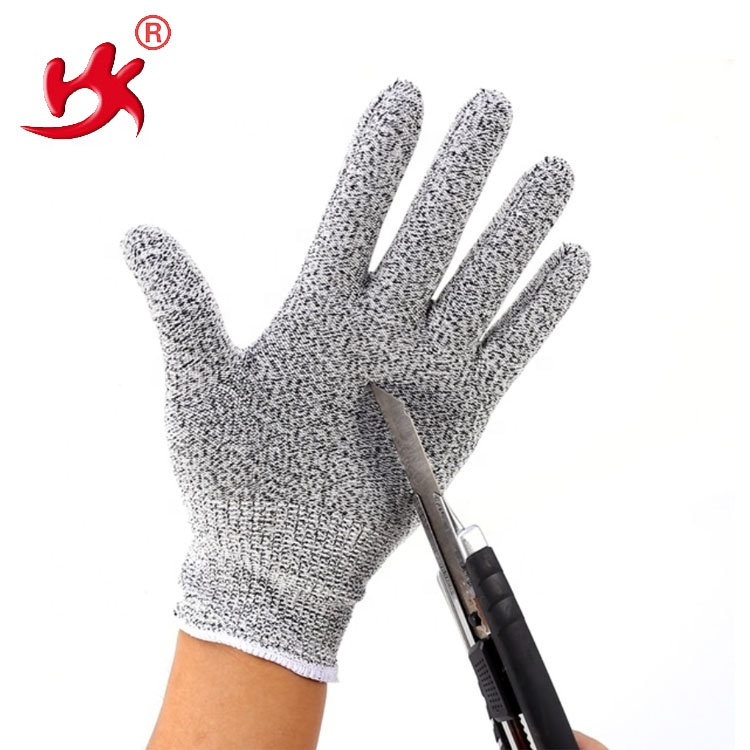 black/gray impact knife cut resistant protective knitted gloves for working