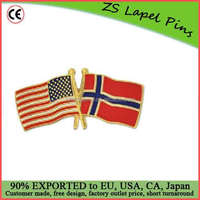 Free artwork design custom quality promotional gift USA and Norway Crossed Friendship Flag Lapel Pin