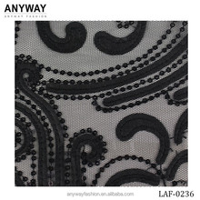 High quality embroidery black lace fabric