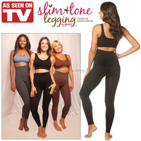 Slim Tone Legging By Genie, Black Body Shaper Leggins