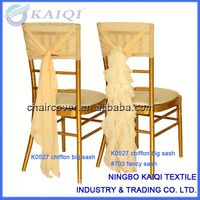 Fashionable design wholesale cheap wedding chiffon chair hood with ruffles