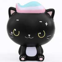2018 animal squishy toys soft 3D mini squishy slow rising anti stress black cat toys