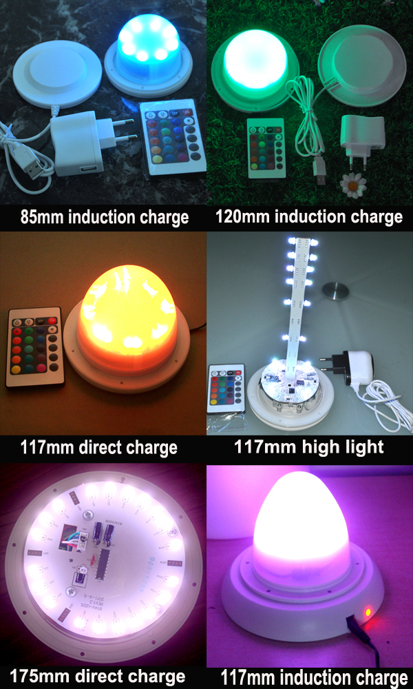 rechargeable rgbw underwater led battery lights with remote control