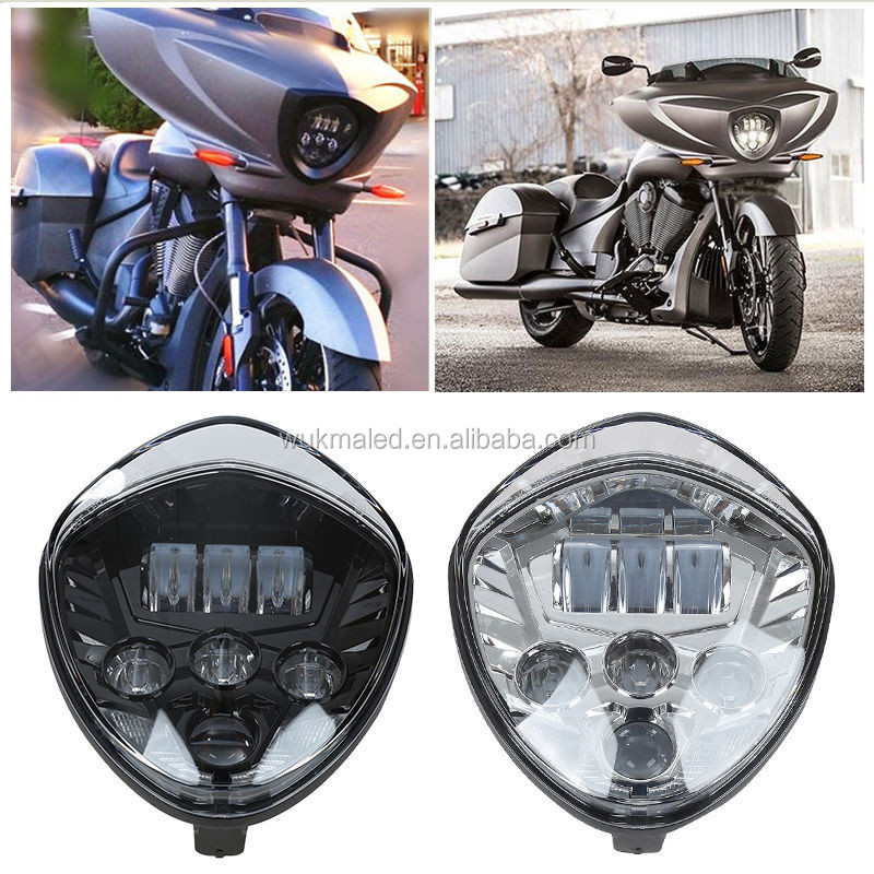 Motorcycle High Power LED Light Bulb Big Black Headlamp Headlight For Victory