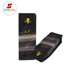 Custom design back sealed block bottom matt black coffee bag for wholesale