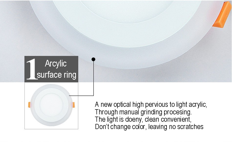 New LED Panel Downlight 6W 9W 16W 24W 3 Model LED Lamp Panel Light Double Color LED Ceiling Recessed Lights Indoor Lighting Bulb