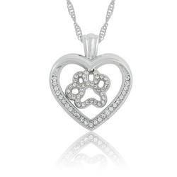 Stylish Pet Lover's Rhodium Plated Crystal Dog Paw Print Heart Pendant Necklace