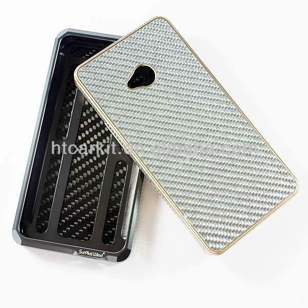 High quality protective cover for htc one m7/luxury hard bumper case cover for htc one m7 carbon fiber back