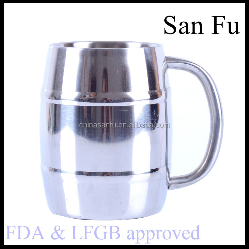 34oz/1000ml barrel-shaped stainless steel beer mug with stainless steel handle and lid